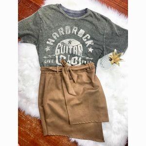 {BooHoo} Brown/Tan Asymmetrical Suede Skirt Btq